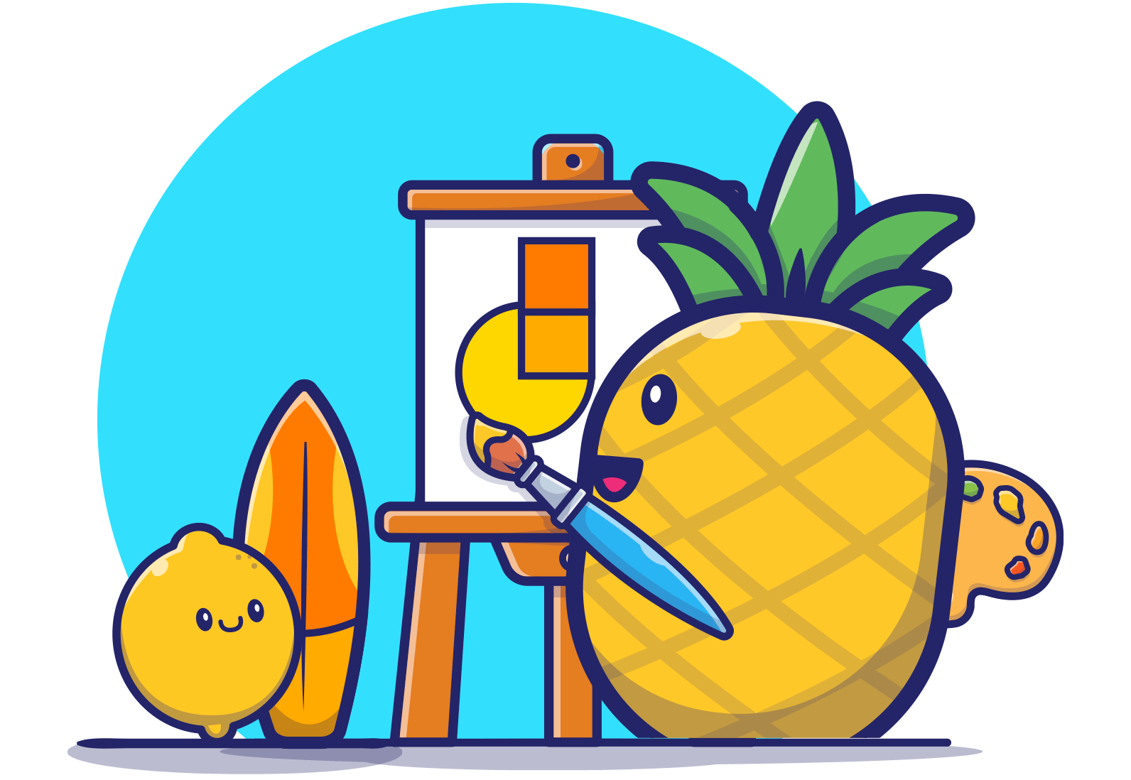 pineapple painting and learning