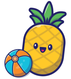 pineapple student with beach ball